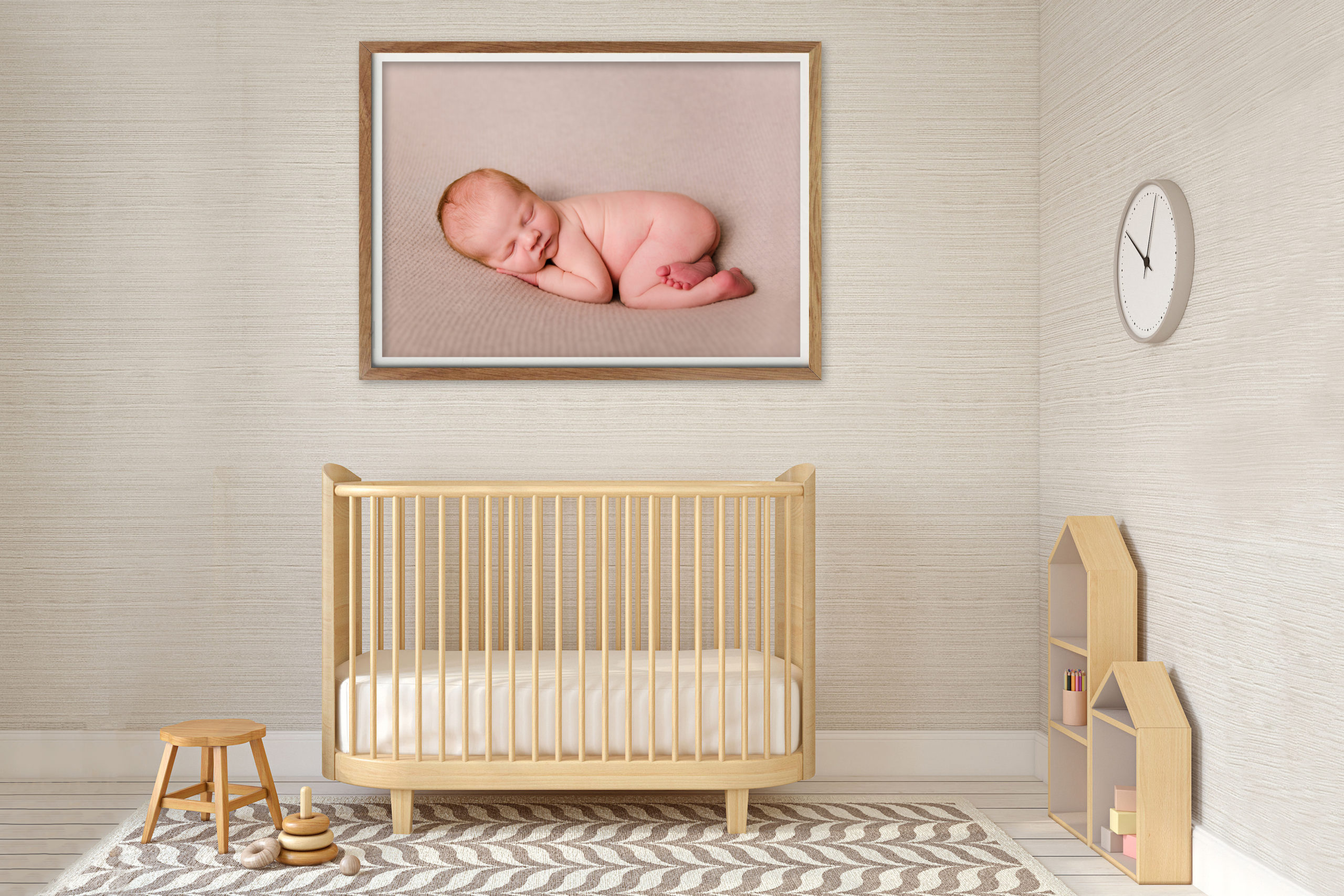 Newborn and Family photography canvas and art photography products in interior three photos on a wall art octagon canvases in a bedroom South West London Wimbledon Photographer SW19 Photography printing products luxury canvases, photo art wall art canvas professional canvas framed art work