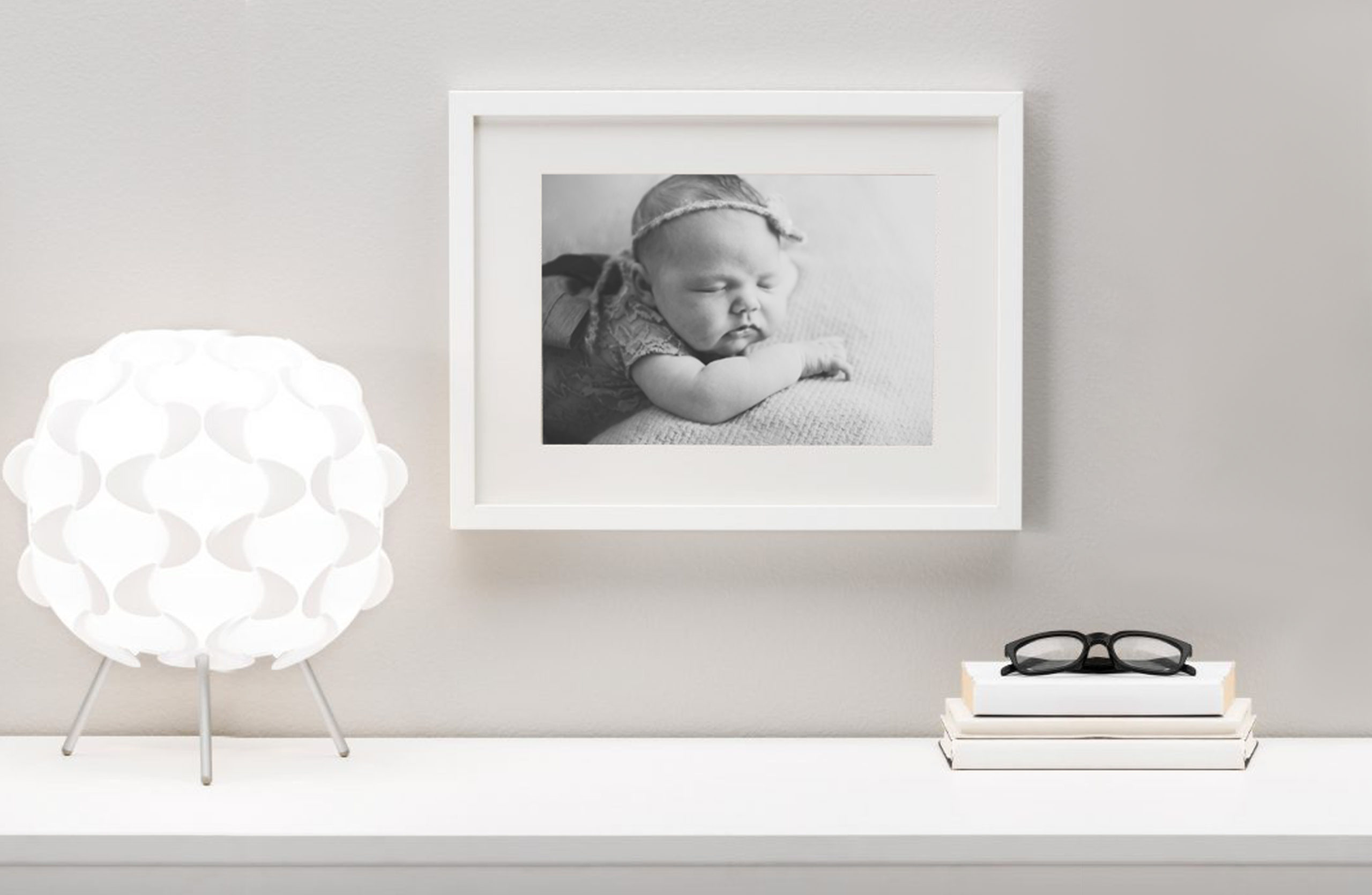Newborn photography Black and White Framed Print on a wall art canvas photo studio printing product Wimbledon South West London