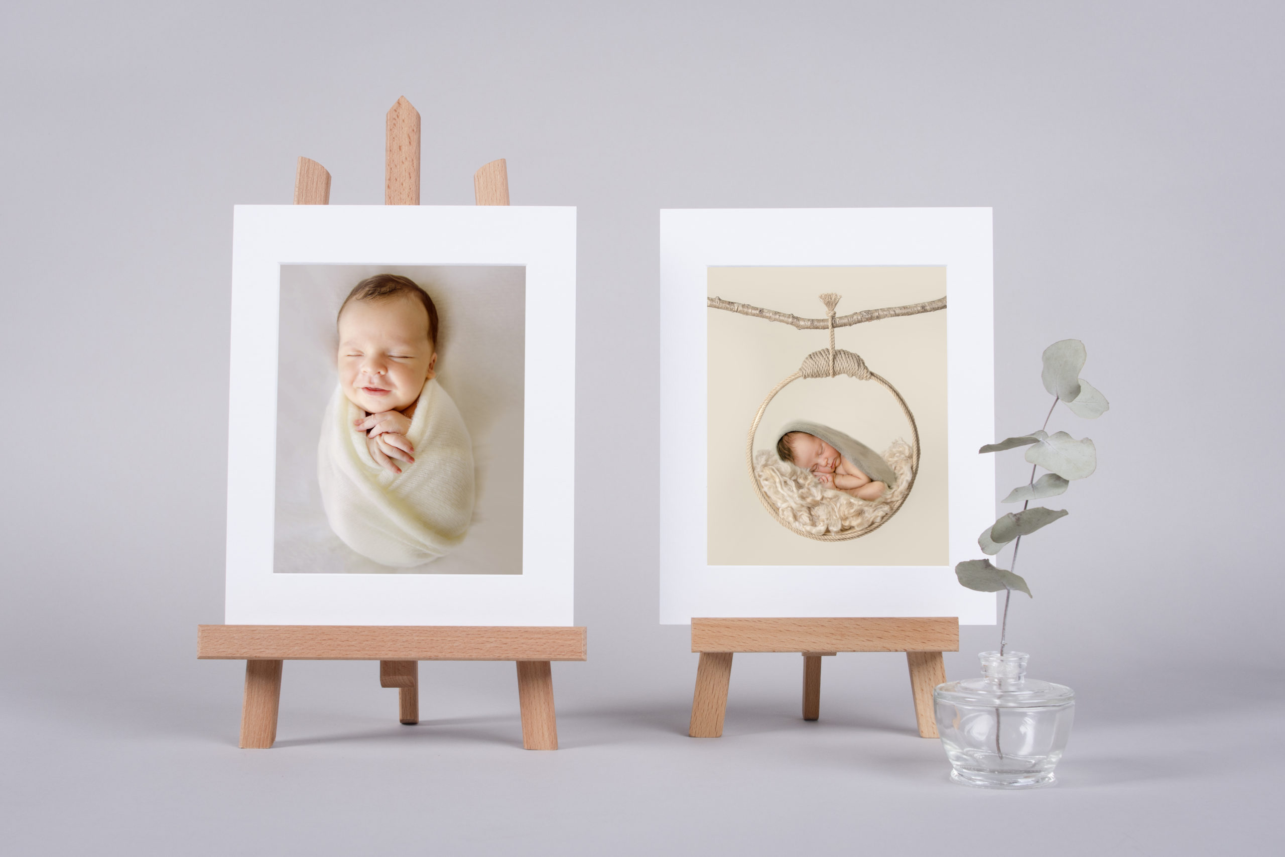 Two Prints on a white background Luxury Printing Products art Prints family portrait child portrait print professional quality prints folio box storage ideas handmade matted paper prints in a photography Studio in Wimbledon South West London