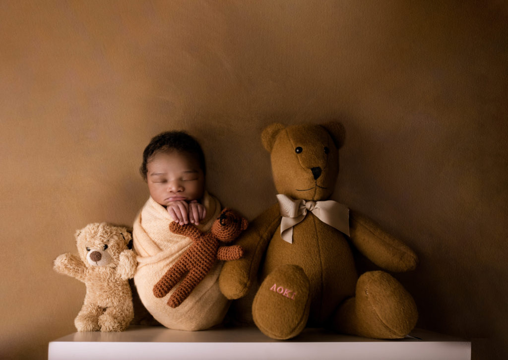 baby photo on the shelf with teddy studio photography Wimbledon SW19 South West London