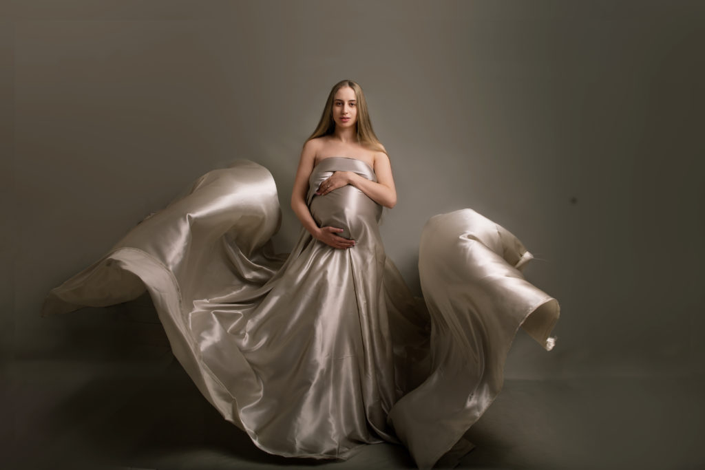 Pregnancy photoshoot with floating fabrics Studio photo session in Wimbledon SW19